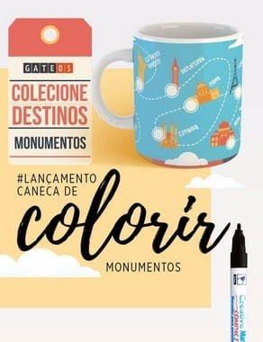 Caneca De Colorir Monumentos