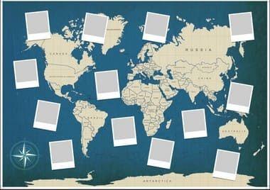 Painel de Fotos Mapa Mundi