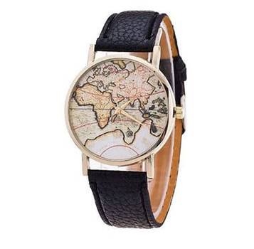 Relógio Mapa Mundi Luxo - Preto