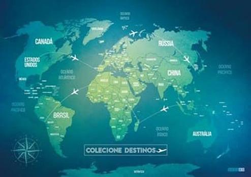 Mapa Mundi  Green Life para marcar países visitados