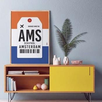PÔSTER AEROPORTO AMSTERDAM - SCHIPOL - HOLANDA
