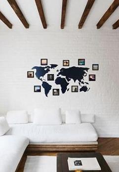 Mapa Mundi Parede Polietileno 10 Molduras 10x10 Gate05