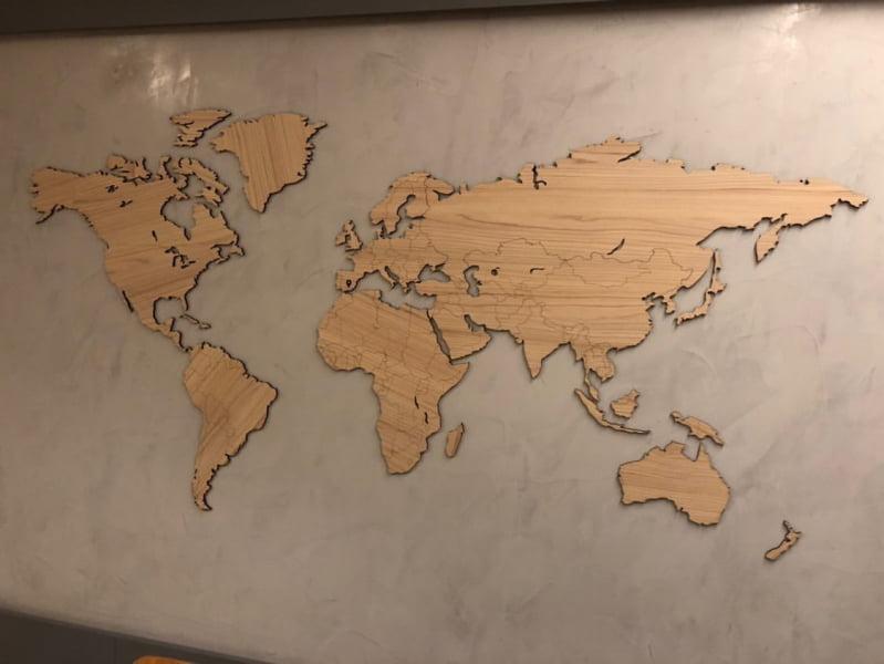 Mapa Mundi MDF Fronteiras - Diversas Cores e Tamanhos